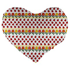 Ladybugs And Flowers Large 19  Premium Flano Heart Shape Cushions by Valentinaart