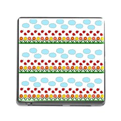 Ladybugs And Flowers Memory Card Reader (square) by Valentinaart