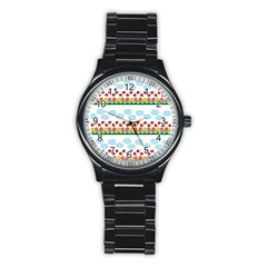 Ladybugs And Flowers Stainless Steel Round Watch by Valentinaart