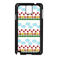 Ladybugs And Flowers Samsung Galaxy Note 3 N9005 Case (black) by Valentinaart