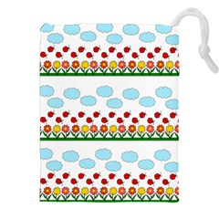 Ladybugs And Flowers Drawstring Pouches (xxl) by Valentinaart