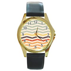 Abstract Vintage Lines Round Gold Metal Watch by Simbadda