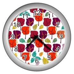 Colorful Trees Background Pattern Wall Clocks (silver)  by Simbadda