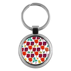 Colorful Trees Background Pattern Key Chains (round)  by Simbadda