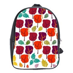 Colorful Trees Background Pattern School Bags(large)  by Simbadda