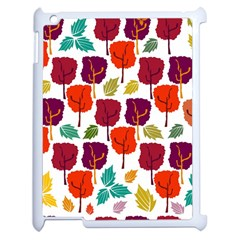 Colorful Trees Background Pattern Apple Ipad 2 Case (white) by Simbadda