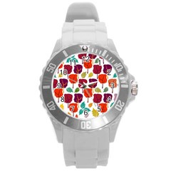 Colorful Trees Background Pattern Round Plastic Sport Watch (l) by Simbadda