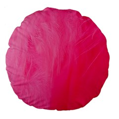 Very Pink Feather Large 18  Premium Flano Round Cushions by Simbadda