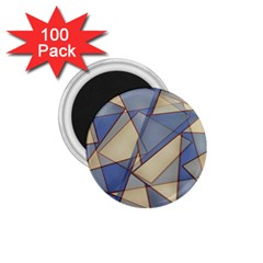 Blue And Tan Triangles Intertwine Together To Create An Abstract Background 1 75  Magnets (100 Pack)  by Simbadda