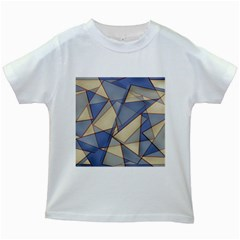 Blue And Tan Triangles Intertwine Together To Create An Abstract Background Kids White T Shirts