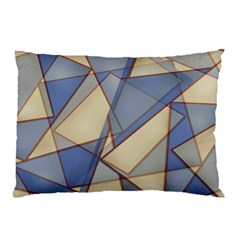 Blue And Tan Triangles Intertwine Together To Create An Abstract Background Pillow Case by Simbadda