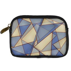 Blue And Tan Triangles Intertwine Together To Create An Abstract Background Digital Camera Cases by Simbadda