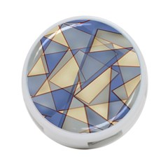 Blue And Tan Triangles Intertwine Together To Create An Abstract Background 4 Port Usb Hub (two Sides)  by Simbadda