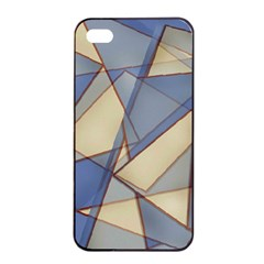 Blue And Tan Triangles Intertwine Together To Create An Abstract Background Apple Iphone 4/4s Seamless Case (black) by Simbadda