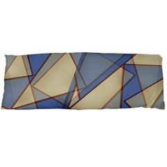 Blue And Tan Triangles Intertwine Together To Create An Abstract Background Body Pillow Case (dakimakura) by Simbadda