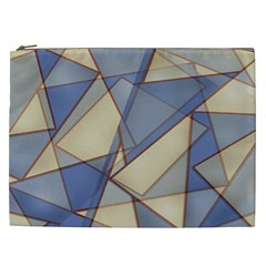 Blue And Tan Triangles Intertwine Together To Create An Abstract Background Cosmetic Bag (xxl)  by Simbadda