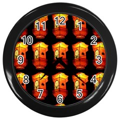 Paper Lanterns Pattern Background In Fiery Orange With A Black Background Wall Clocks (black) by Simbadda