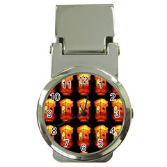 Paper Lanterns Pattern Background In Fiery Orange With A Black Background Money Clip Watches by Simbadda