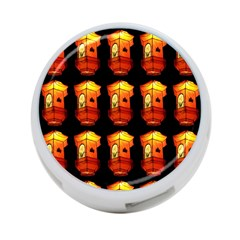 Paper Lanterns Pattern Background In Fiery Orange With A Black Background 4 Port Usb Hub (one Side) by Simbadda