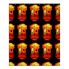 Paper Lanterns Pattern Background In Fiery Orange With A Black Background Shower Curtain 60  X 72  (medium)  by Simbadda