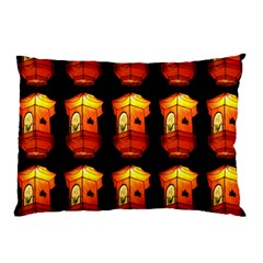 Paper Lanterns Pattern Background In Fiery Orange With A Black Background Pillow Case (two Sides) by Simbadda