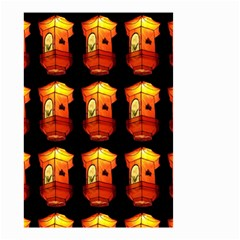Paper Lanterns Pattern Background In Fiery Orange With A Black Background Small Garden Flag (two Sides) by Simbadda