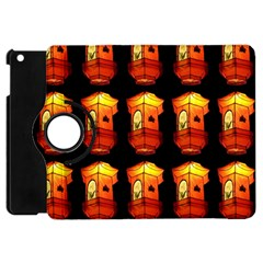 Paper Lanterns Pattern Background In Fiery Orange With A Black Background Apple Ipad Mini Flip 360 Case by Simbadda