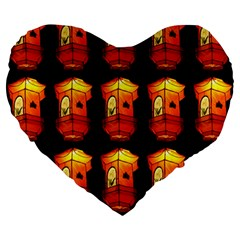 Paper Lanterns Pattern Background In Fiery Orange With A Black Background Large 19  Premium Heart Shape Cushions by Simbadda