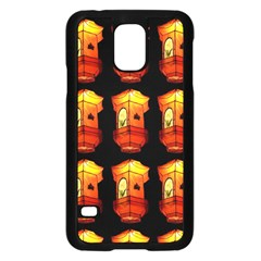 Paper Lanterns Pattern Background In Fiery Orange With A Black Background Samsung Galaxy S5 Case (black) by Simbadda