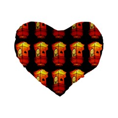 Paper Lanterns Pattern Background In Fiery Orange With A Black Background Standard 16  Premium Flano Heart Shape Cushions by Simbadda
