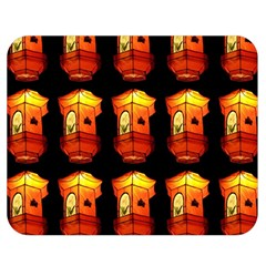 Paper Lanterns Pattern Background In Fiery Orange With A Black Background Double Sided Flano Blanket (medium)  by Simbadda