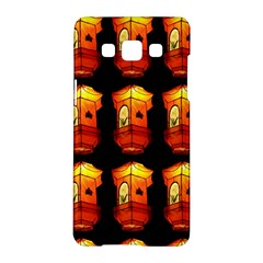 Paper Lanterns Pattern Background In Fiery Orange With A Black Background Samsung Galaxy A5 Hardshell Case  by Simbadda