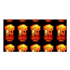 Paper Lanterns Pattern Background In Fiery Orange With A Black Background Satin Shawl by Simbadda