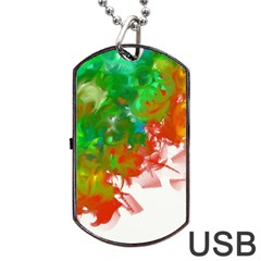 Digitally Painted Messy Paint Background Texture Dog Tag Usb Flash (two Sides) by Simbadda