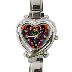 Symmetric Fractal Image In 3d Glass Frame Heart Italian Charm Watch by Simbadda