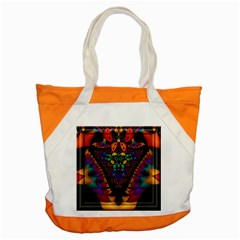 Symmetric Fractal Image In 3d Glass Frame Accent Tote Bag by Simbadda