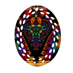 Symmetric Fractal Image In 3d Glass Frame Oval Filigree Ornament (two Sides) by Simbadda