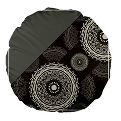 Abstract Mandala Background Pattern Large 18  Premium Flano Round Cushions by Simbadda
