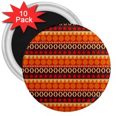 Abstract Lines Seamless Pattern 3  Magnets (10 Pack)  by Simbadda
