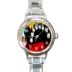 Grunge Abstract In Dark Round Italian Charm Watch by Simbadda