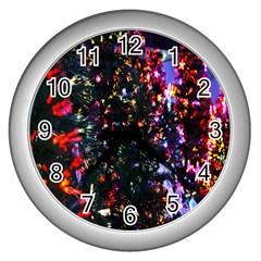 Lit Christmas Trees Prelit Creating A Colorful Pattern Wall Clocks (silver)  by Simbadda