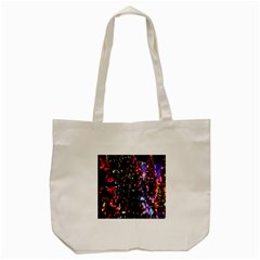 Lit Christmas Trees Prelit Creating A Colorful Pattern Tote Bag (cream) by Simbadda