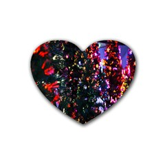 Lit Christmas Trees Prelit Creating A Colorful Pattern Rubber Coaster (heart)  by Simbadda
