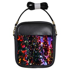 Lit Christmas Trees Prelit Creating A Colorful Pattern Girls Sling Bags by Simbadda
