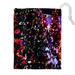 Lit Christmas Trees Prelit Creating A Colorful Pattern Drawstring Pouches (xxl) by Simbadda