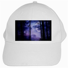 Moonlit A Forest At Night With A Full Moon White Cap by Simbadda