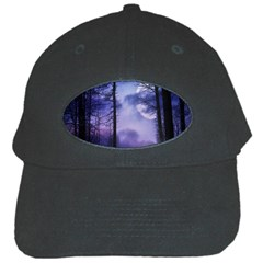 Moonlit A Forest At Night With A Full Moon Black Cap by Simbadda