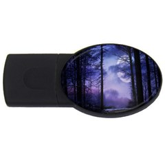 Moonlit A Forest At Night With A Full Moon Usb Flash Drive Oval (2 Gb) by Simbadda