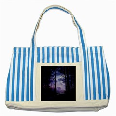 Moonlit A Forest At Night With A Full Moon Striped Blue Tote Bag by Simbadda