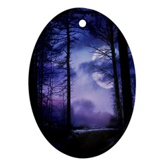 Moonlit A Forest At Night With A Full Moon Oval Ornament (two Sides) by Simbadda